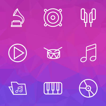 gramaphone: Audio Outlines Set. Collection Of Circle, Melody, Plastic And Other Elements. Also Includes Symbols Such As Folder, Keys, Piano. Illustration
