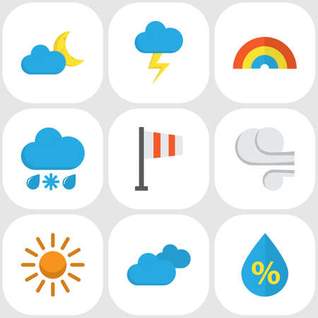 crescent: Weather Flat Icons Set. Collection Of Sun, Crescent, Banner And Other Elements. Also Includes Symbols Such As Sunny, Colors, Bow.