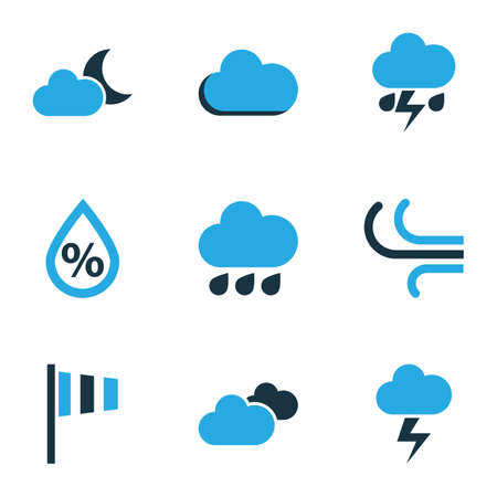 Climate Colored Icons Set. Collection Of Fog, Rainfall, Humidity And Other Elements. Also Includes Symbols Such As Speed, Lightning, Breeze. 矢量图片