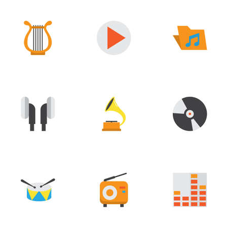 melodic: Multimedia Flat Icons Set. Collection Of Portfolio, Earpiece, Broadcasting And Other Elements. Also Includes Symbols Such As Vinyl, Dj, Drum. Illustration