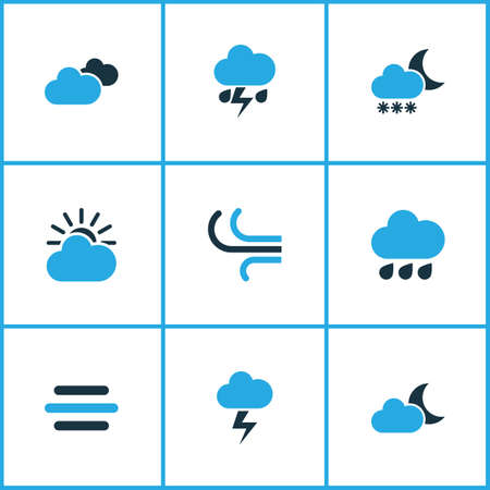 crescent: Weather Colored Icons Set. Collection Of Blizzard, Wind, Cloudy Sky And Other Elements. Also Includes Symbols Such As Snowfall, Lightning, Cloud.