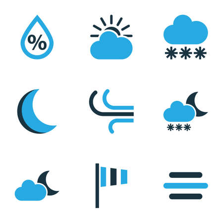 Nature Colored Icons Set. Collection Of Wind, Night, Blizzard And Other Elements. Also Includes Symbols Such As Breeze, Night, Forecast. Illustration