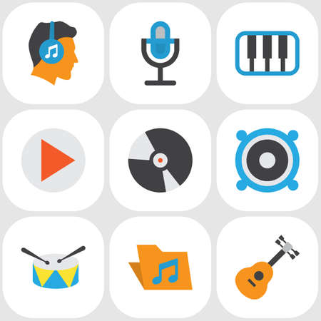 Multimedia Flat Icons Set. Collection Of Portfolio, Karaoke, Loudspeaker And Other Elements. Also Includes Symbols Such As Guitar, Musical, Bullhorn. Illustration