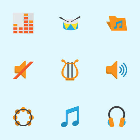 Music Flat Icons Set. Collection Of Controlling, Ear Muffs, Band Elements. Also Includes Symbols Such As Band, Harp, Volume. Illustration
