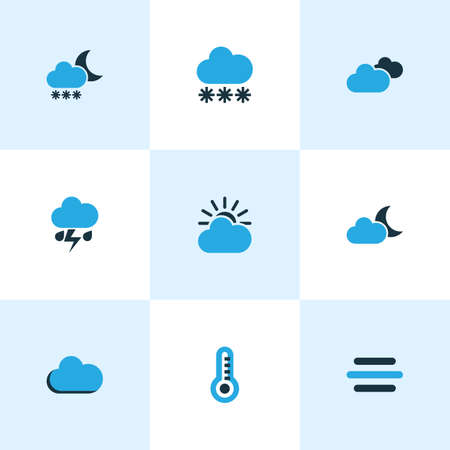 moonshine: Climate Colored Icons Set. Collection Of Thunderstorm, Moonshine, Blizzard And Other Elements. Also Includes Symbols Such As Snowfall, Lightning, Storm.