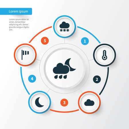 weathercock: Climate Icons Set. Collection Of Cloudy, Flag, Moon And Other Elements. Also Includes Symbols Such As Cold, Rainy, Snowy. Illustration