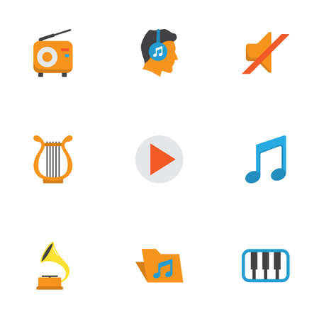 Multimedia Flat Icons Set. Collection Of Portfolio, Button, Broadcasting And Other Elements. Also Includes Symbols Such As Musical, Male, Tone. Illustration