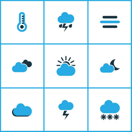 Climate Colored Icons Set. Collection Of Snowfall, Overcast, Thermometer And Other Elements. Also Includes Symbols Such As Gust, Wind, Temperature. Çizim