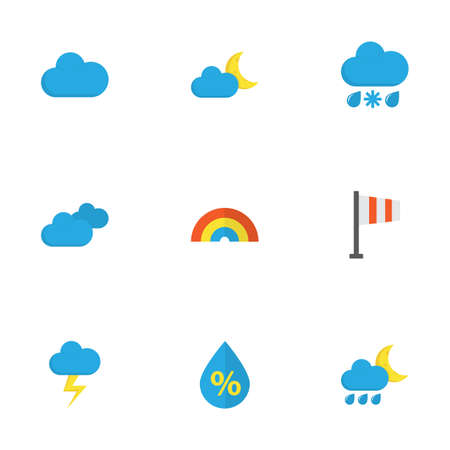 crescent: Climate Flat Icons Set. Collection Of Banner, Overcast, Cloud And Other Elements. Also Includes Symbols Such As Cloud, Snow, Drip.