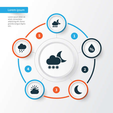 Meteorology Icons Set. Collection Of Night, Douche, Moisture And Other Elements. Also Includes Symbols Such As Sunlight, Sun, Cold. Illustration