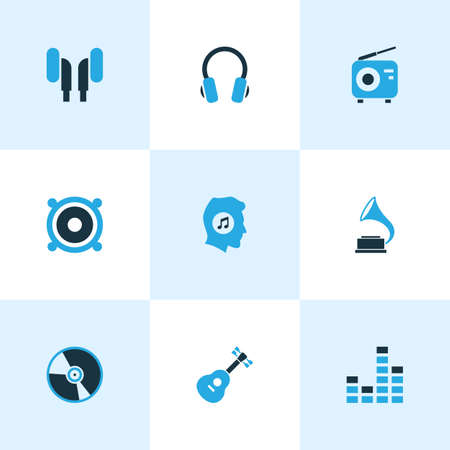 sonata: Music Colored Icons Set. Collection Of Guitar, Radio, Gramophone And Other Elements. Also Includes Symbols Such As Turntable, Loudspeaker, Guitar. Illustration