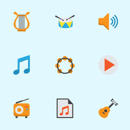 loudspeaker: Audio Flat Icons Set. Collection Of Sonata, Broadcasting, Rhythm And Other Elements. Also Includes Symbols Such As Radio, Audio, Philharmonic.