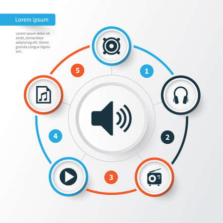 Music Icons Set. Collection Of Start, Earphone, Megaphone And Other Elements. Also Includes Symbols Such As Volume, Fm, Button.