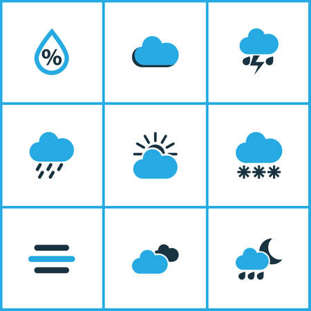 precipitation: Weather Colored Icons Set. Collection Of Snowfall, Thunderstorm, Overcast And Other Elements. Also Includes Symbols Such As Gust, Snow, Thunderstorm.