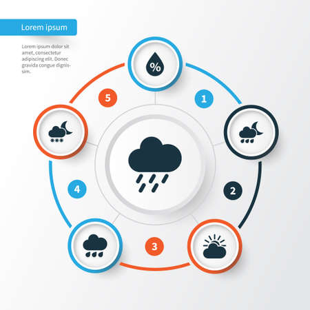 Meteorology Icons Set. Collection Of Night, Moisture, Nightly And Other Elements. Also Includes Symbols Such As Cold, Snowy, Rain.