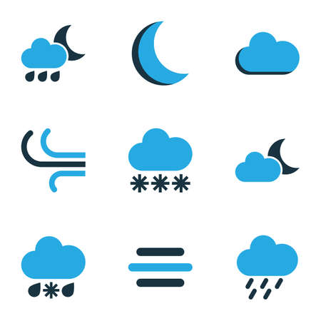 Climate Colored Icons Set. Collection Of Rainstorm, Snowfall, Fog And Other Elements. Also Includes Symbols Such As Gust, Rain, Winter.