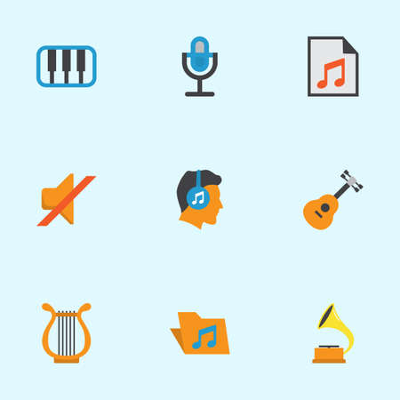 Audio Flat Icons Set. Collection Of Pianoforte, Sonata, Media And Other Elements. Also Includes Symbols Such As List, Volume, Shellac. Illustration