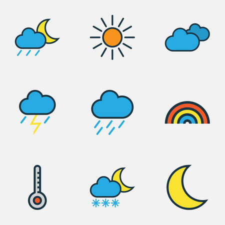 Meteorology Colored Outlines Set. Collection Of Moonbeam, Hazy, Rainbow And Other Elements. Also Includes Symbols Such As Thunderstroke, Overcast, Cloudy. Illustration