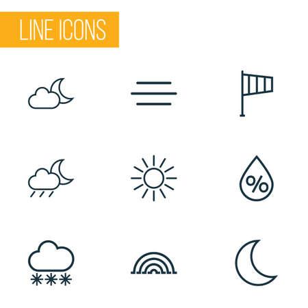 Conjunto de contornos meteorológicos. Colección de arco iris, viento, nieve y otros elementos. También incluye símbolos como Arc, Sunshine, Line.