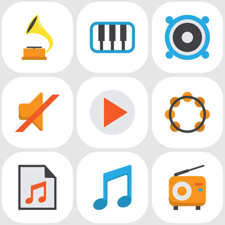 Multimedia Flat Icons Set. Collection Of Quiet, Broadcasting, Rhythm And Other Elements. Also Includes Symbols Such As Megaphone, Phonograph, Rhythm.