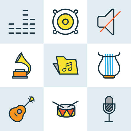 gramaphone: Music Colored Outlines Set. Collection Of Harp, Template, Barrel And Other Elements. Also Includes Symbols Such As Drum, Package, Guitar.