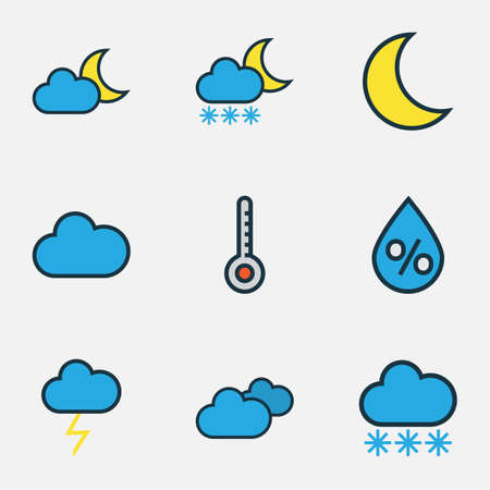 to trickle: Climate Colored Outlines Set. Collection Of Snowing, Cloudy Day, Raindrop And Other Elements. Also Includes Symbols Such As Overcast, Thermometer, Snowing. Illustration