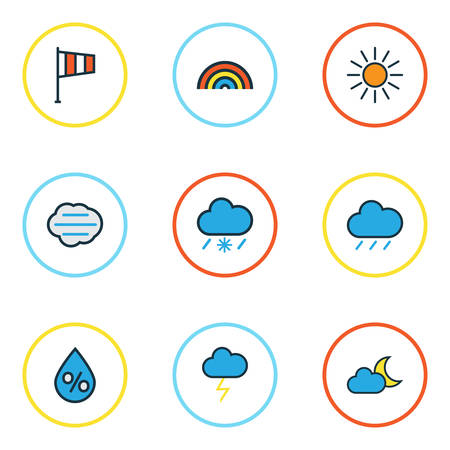 Climate Colored Outlines Set. Collection Of Rainbow, Sunshine, Raindrop And Other Elements. Also Includes Symbols Such As Cloudburst, Lightning, Twilight. Illustration