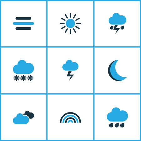 rainbow sky: Weather Colored Icons Set. Collection Of Arc, Thunderstorm, Lightning And Other Elements. Also Includes Symbols Such As Winter, Summer, Snow. Illustration