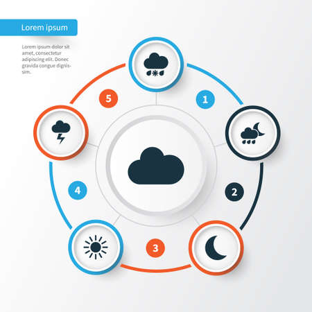 Meteorology Icons Set. Collection Of Lightning, Sun, Nightly And Other Elements. Also Includes Symbols Such As Moonlight, Moon, Cloudy.