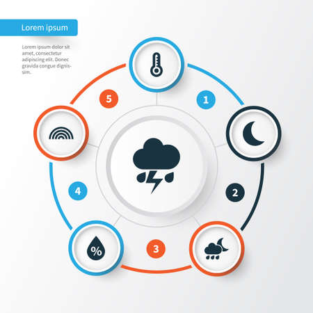 Meteorology Icons Set. Collection Of Colors, Temperature, Moisture And Other Elements. Also Includes Symbols Such As Flash, Cold, Moonlight.
