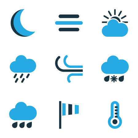 Meteorology Colored Icons Set. Collection Of Thermometer, Rainfall, Wind And Other Elements. Also Includes Symbols Such As Snow, Breeze, Drizzle.