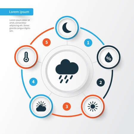 Meteorology Icons Set. Collection Of Moisture, Sun, Douche And Other Elements. Also Includes Symbols Such As Humidity, Temperature, Hate.