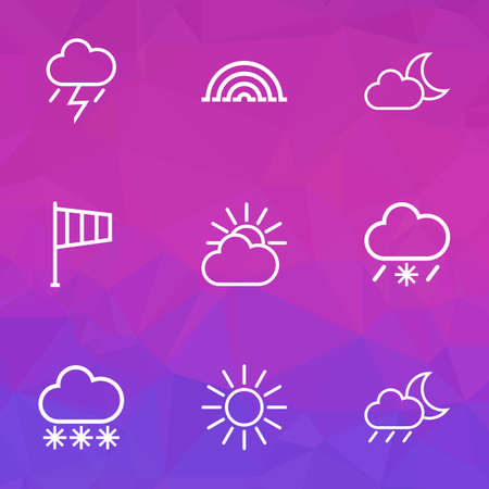 Meteorology Outlines Set. Collection Of Snow, Snowy Raining, Lightning And Other Elements. Also Includes Symbols Such As Drizzle, Night, Rainfall.