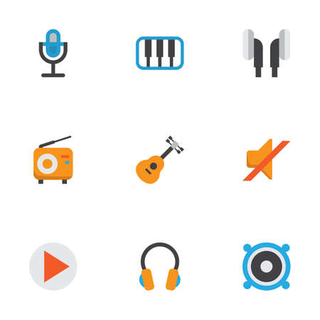 Music Flat Icons Set. Collection Of Earpiece, Broadcasting, Karaoke And Other Elements. Also Includes Symbols Such As Earpiece, Synthesizer, Piano. Illustration