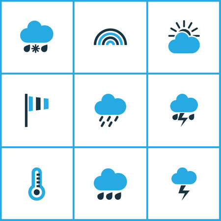 Climate Colored Icons Set. Collection Of Arc, Rainstorm, Wind Speed And Other Elements. Also Includes Symbols Such As Speed, Cloudy, Cold.