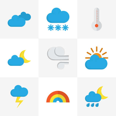 Weather Flat Icons Set. Collection Of Crescent, Overcast, Bow And Other Elements. Also Includes Symbols Such As Thermometer, Wind, Rain.
