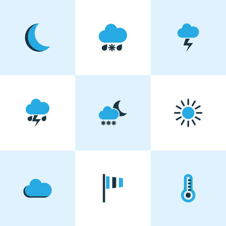 crescent: Climate Colored Icons Set. Collection Of Cold Weather, Wind Speed, Sunny And Other Elements. Also Includes Symbols Such As Blizzard, Moon, Night.