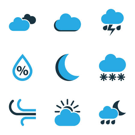 Climate Colored Icons Set. Collection Of Cloudy Sky, Humidity, Wind And Other Elements. Also Includes Symbols Such As Drop, Gust, Moon. Illustration