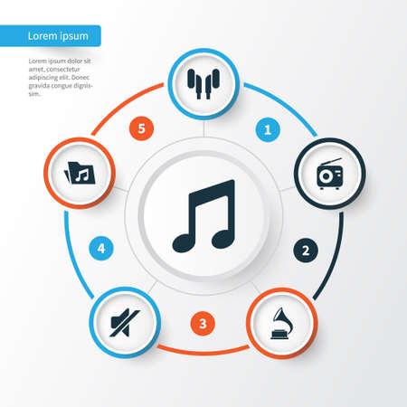 octave: Music Icons Set. Collection Of Dossier, Phonograph, Tuner And Other Elements. Also Includes Symbols Such As Volume, Phonograph, Note. Illustration