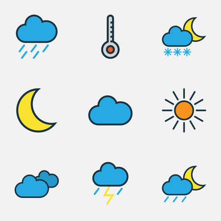 Climate Colored Outlines Set. Collection Of Hazy, Overcast Weather, Freeze And Other Elements. Also Includes Symbols Such As Cloud, Lunar, Sunlight. Illustration