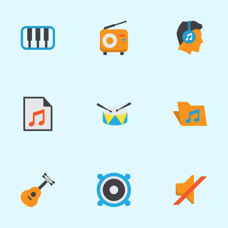 web directories: Music Flat Icons Set. Collection Of Acoustic, Male, Media And Other Elements. Also Includes Symbols Such As Portfolio, Instrument, Pianoforte.