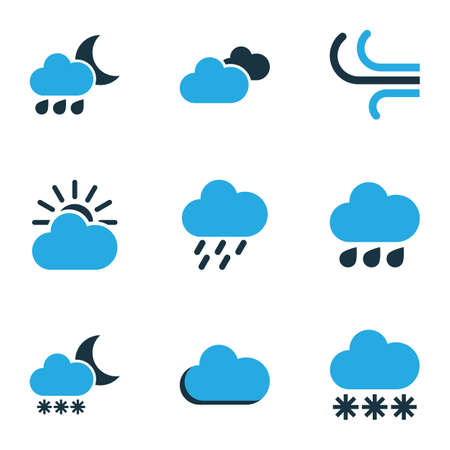 Climate Colored Icons Set. Collection Of Rainstorm, Drizzle, Rainfall And Other Elements. Also Includes Symbols Such As Overcast, Forecast, Drizzle.