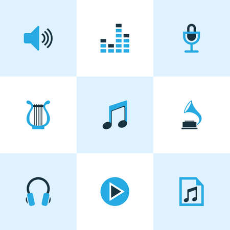 Music Colored Icons Set. Collection Of Microphone, Playlist, Harp And Other Elements. Also Includes Symbols Such As Start, File, Mixer.