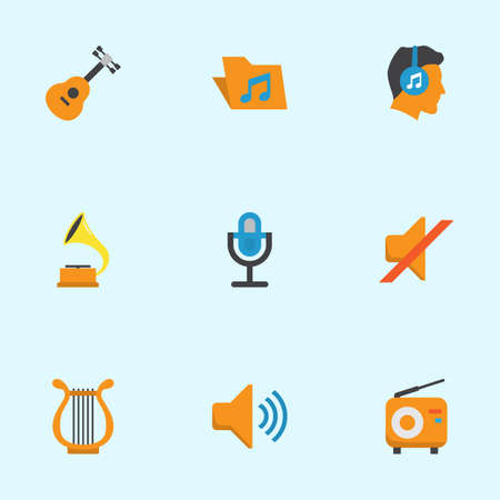 Multimedia Flat Icons Set. Collection Of Quiet, Male, Shellac And Other Elements. Also Includes Symbols Such As Portfolio, Radio, Volume.