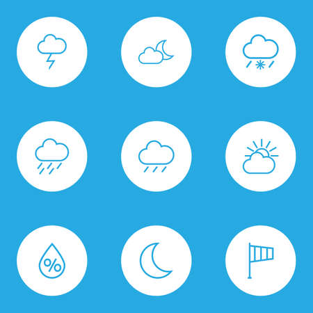 crescent: Meteorology Outlines Set. Collection Of Snowy Raining, Drop, Stormy And Other Elements. Also Includes Symbols Such As Moon, Lightning, Rain.
