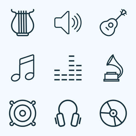 gramaphone: Music Outlines Set. Collection Of Strings, Plastic, Audio Level And Other Elements. Also Includes Symbols Such As Headphone, Speaker, Sounds.