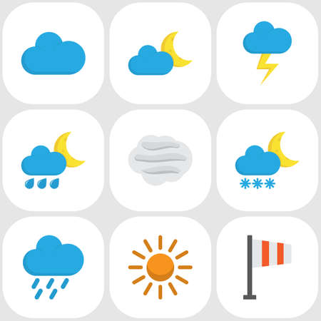 hail: Nature Flat Icons Set. Collection Of Hailstones, Sun, Banner And Other Elements. Also Includes Symbols Such As Wind, Moon, Cloud.