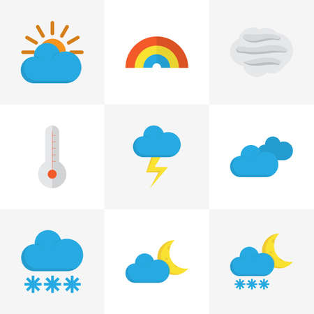 rainbow sky: Weather Flat Icons Set. Collection Of Temperature, Windy, Snow And Other Elements. Also Includes Symbols Such As Sun, Cloud, Rainbow.