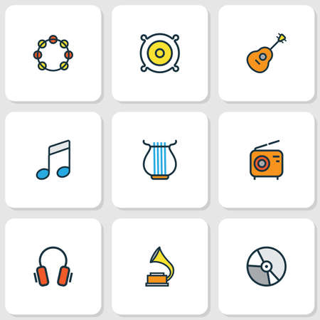 Multimedia Colored Outlines Set. Collection Of Harp, Strings, Gramophone And Other Elements. Also Includes Symbols Such As Harp, Notes, Guitar.