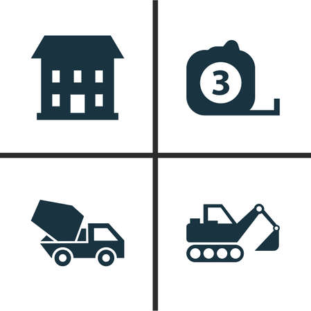 scale icon: Building Icons Set. Collection Of Home, Digger, Cement Vehicle And Other Elements. Also Includes Symbols Such As Vehicle, Home, Tape.